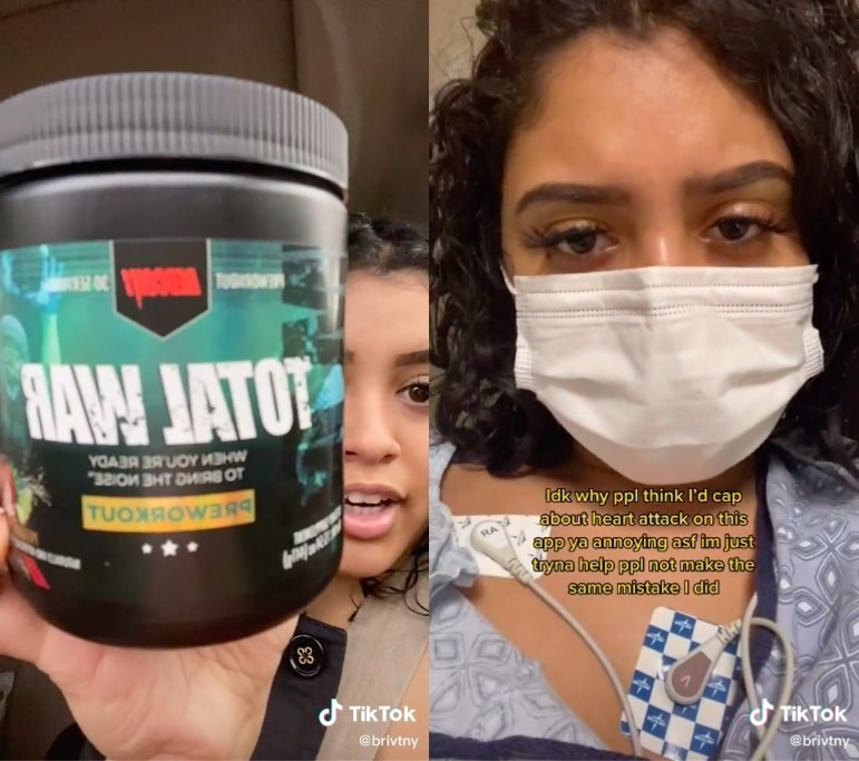 TikTok user Briatney Portillo was hospitalised with chest pains, nausea, and fatigue after dry scooping pre-workout powder.