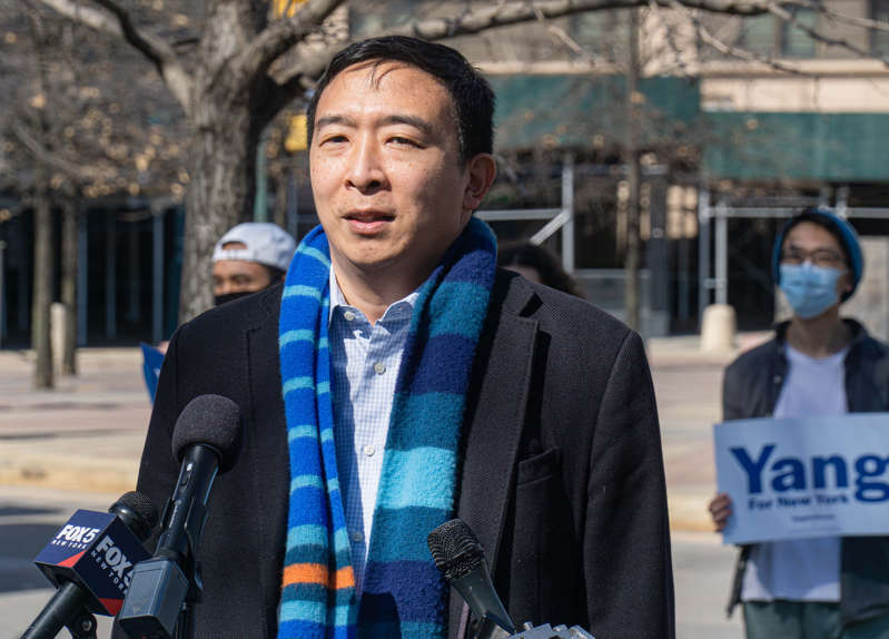 Andrew Yang, then a New York City mayoral candidate, speaks to voters on March 9, 2021.